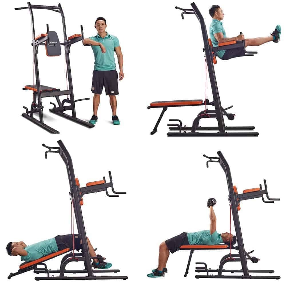 multifunction adjustable pull up tower with bench